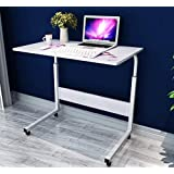 SSLine Side Table Mobile Laptop Computer Desk for Bed Sofa, Portable Breakfast TV Tray Height Adjustable Coffee End Table U-Shaped Overbed Table with Wheels White (Color: White)