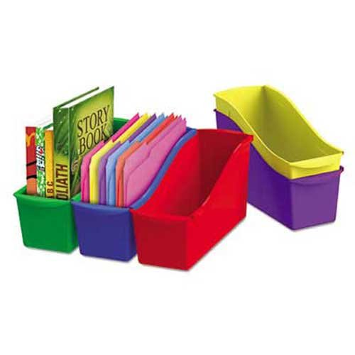 Storex Interlocking Book Bins, 4 3/4 x 12 5/8 x 7, 5 Color Set, Plastic (Color Book Bins compare prices)