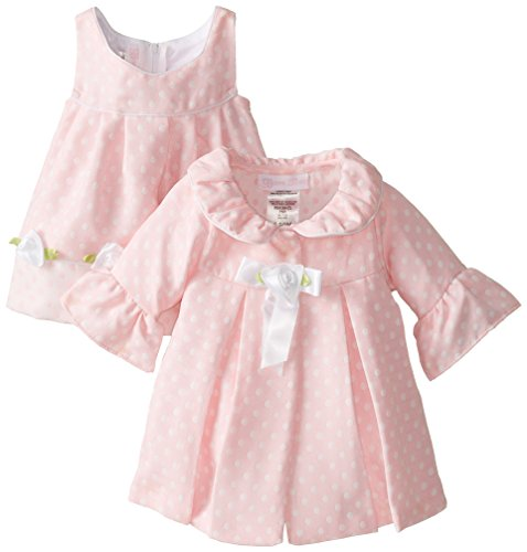 Bonnie Baby Baby-Girls Newborn Pink Dot Coat and Dress Set