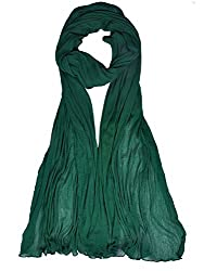 Womens Cottage Bottle Green Solid (Plain) Pure Chiffon Dupatta with Pom Pom Lace