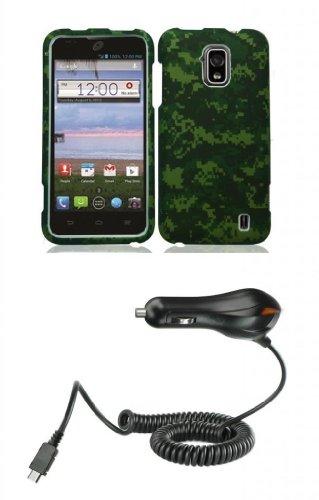 Zte Solar Z795G - Premium Bundle Pack - Army Green Camo Design Shield Case + Atom Led Keychain Light + Micro Usb Car Charger