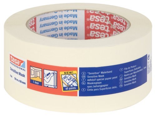 tesa 7006 Sensitive Surfaces Low Tack Masking Tape, 7 Days Residue Free Removal, 50 mm x 50 m