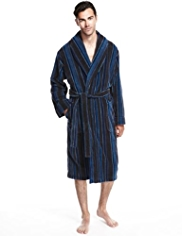 Luxury Cotton Rich Shawl Collar Striped Velour Dressing Gown