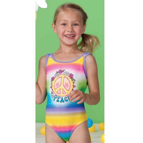 Hula Star Little Girls Size 4-6X Multi Color Peace Swimsuit