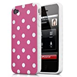 Pink and White Polka Dot Split Pattern Soft Case For Apple iPhone 4S / 4 (AT&T, Verizon, Sprint)