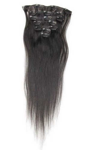 Decus 14 inch Echthaar Clip in Extensions Remy Haarverlängerung glatt Straight Clip On Hair (Jet Black)