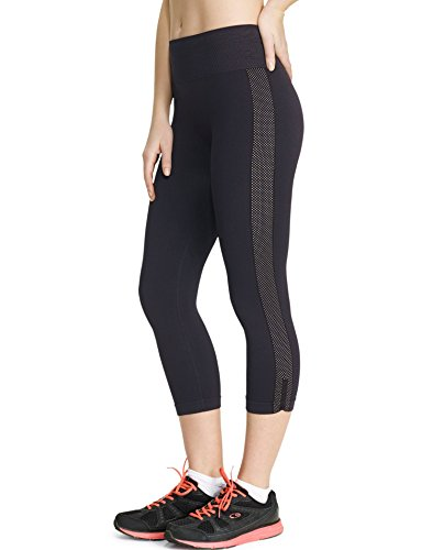 Champion Women's Powerflex Performance Seamless Capri Legging, Black White, Large (Champion Shape Tight compare prices)