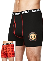 2 Pack Stretch Cotton Manchester United Football Club Trunks