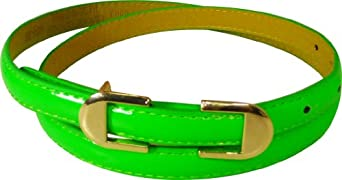 JTC Belt Leather Adjustable Womens Skinny Belt Round Gold Buckle Green Small