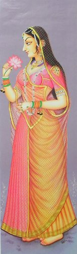 """Dolls Of India """"Rajput Princess Holding Lotus"""" Reprint On Paper - Unframed (91.44 X 29.21 Centimeters)"""