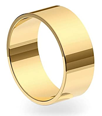 New 9ct 375 Yellow Gold 8mm Flat Shape Wedding Ring Band Solid and UK Hallmarked