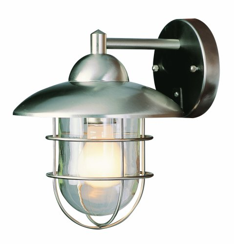 Trans Globe Lighting 4371 ST Coastal Coach 12-Inch Outdoor Wall Lantern, Stainless Steel