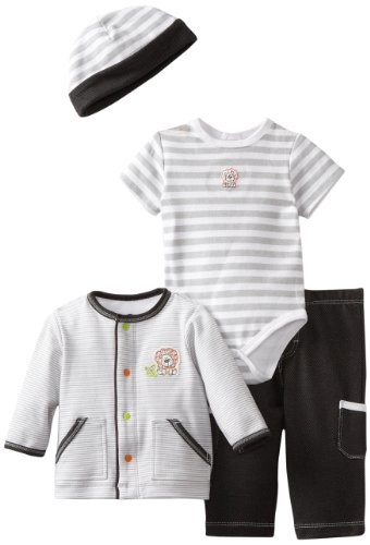 Little Me Baby-boys Newborn Lion 4 Piece Tmh Pant Set, Black, New Born