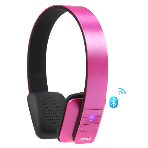 Ikross Bluetooth 4.0 Stereo Headphone Headset With Microphone For Samsung, Apple Iphone, Ipad, Lg, Nokia, Motorola Smartphone Tablet And More (Hot Pink)