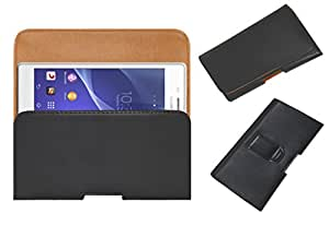 Acm Belt Holster Leather Case For Sony Xperia M2 Mobile Cover Holder Clip Magnetic Closure Black