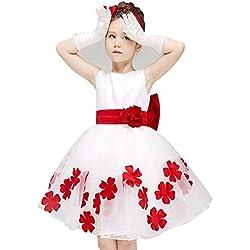 Moollyfox Pizzo Floreale Bowknot Senza Maniche Garza Principessa Partito Ragazze Bambini Tutu Vestito Rosso 130CM