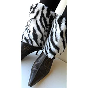 Black & White Zebra Faux Furry Leg Warmer Cuff Muff Boot Cover 7