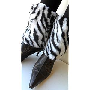 Black & White Zebra Faux Furry Leg Warmer Cuff Muff Boot Cover 7