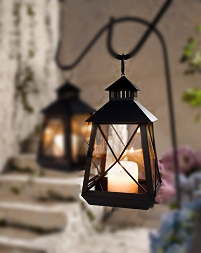 Large Black Stagecoach Lantern – Metal and Glass Hanging Candle Lantern Product SKU: CL229312