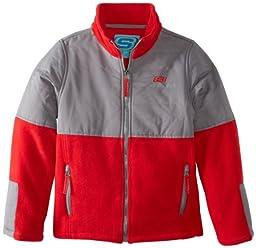 Skechers Big Boys\' Full Zip Polar Fleece Jacket, Red, 10/12