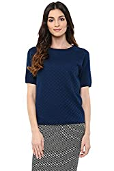 Annabelle by Pantaloons Women's Round Neck Sweater (205000005619423, Blue, Large)