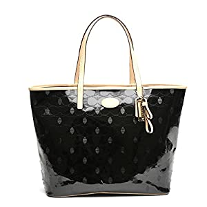 Coach Metro Embossed Leather Tote 31944 Silver/black