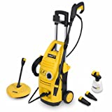 Powerplus Outdoor Garden 1900 Watt 135 BAR Pressure Power Washer Includes Quick Release Accessories: Vario, Turbo, Right Angled Lance PLUS Patio Cleaner POWXG9025 - Complete with 3 YEAR WARRANT