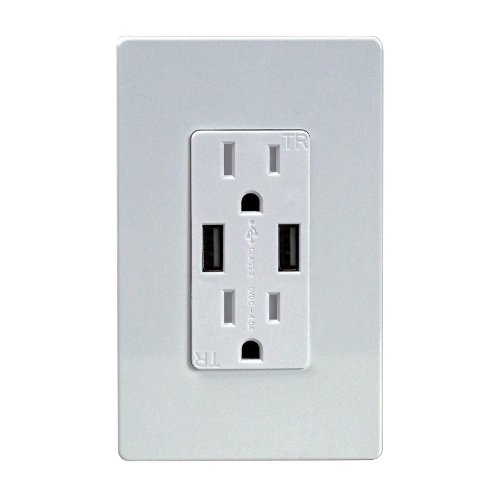 Top Greener 4A High Speed Usb Charger Receptacle 15A Tamper Proof Safety Outlet & 2 Free Wall Plates