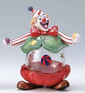 Clown Glass Belly Candle Holder/Candy Jar