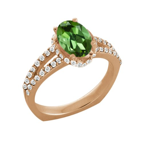 1.36 Ct Green Tourmaline White Sapphire Rose Gold Plated Sterling Silver Ring