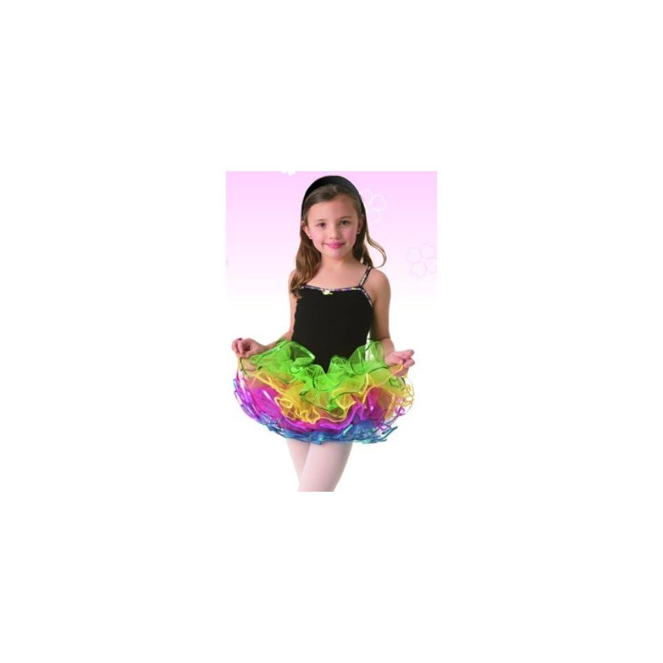 93e0ce763 Posh Intl Rainbow Tutu Black Leotard Dress Girls Dance Costume L on ...