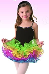 Posh Int'l Rainbow Tutu Black Leotard Dress Girls Dance Costume S