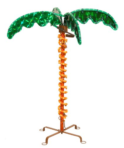 2.5' Deluxe Tropical Holographic Led Rope Lighted Palm Tree With Amber Trunk