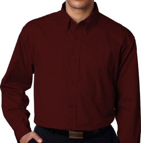 Ultra Club Big And Tall Men'S Long Sleeve Dress Shirt 5Xl Burgundy