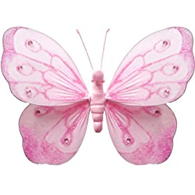 Pink Shimmer Butterfly nylon hanging ceiling wall baby nursery room wedding decor decoration