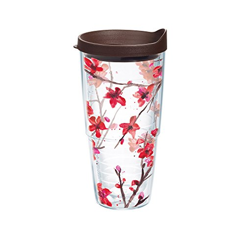 Tervis Springtime Blossom Wrap Bottle with Brown Lid, 24-Ounce, Garden Party tervis tumbler abilene christian acu wildcats water bottle with lid 24oz