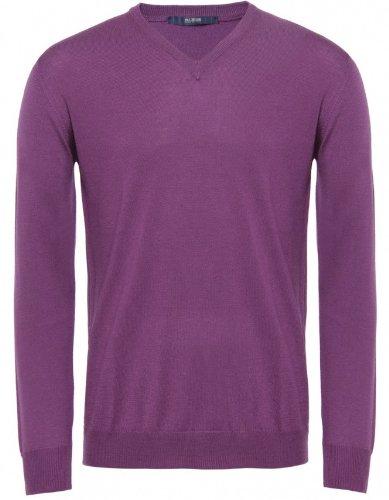 Pal Zileri Men's Sweater Purple V-Neck Jumper XXL