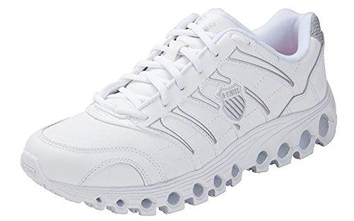 K-Swiss Men's Grancourt Tubes Slip Resistant Duty Shoe,White/Silver,9.5 M US