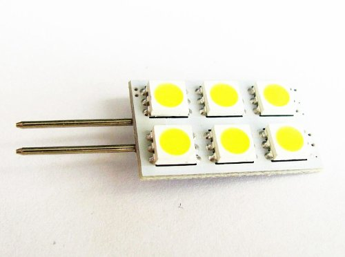 Cbconcept® 2Xledg4Rt6Smd-Cw Led Rectangle Type G4 Base Lamp Side Pin With 6 High Power 5050Smd Leds,12 Volt , Jc G4 Bi-Pin Bulb Replacement For Rv Camper Trailer Boat Marine,0.8 Watt 77 Lumen - White Color (6000K) - 2 Bulbs