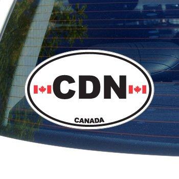 CDN Canada Country Auto Oval Flag - Window Bumper Laptop Sticker