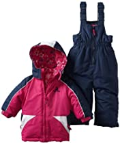 Rugged Bear Baby-Girls Infant Floral-Lined Snowsuit, Berry, 12 Months