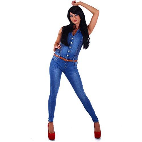 5450-Fashion4Young-Damen-Jeans-Overall-Hosenanzug-Einteiler-Blau-bergrssen-Gr-36-44