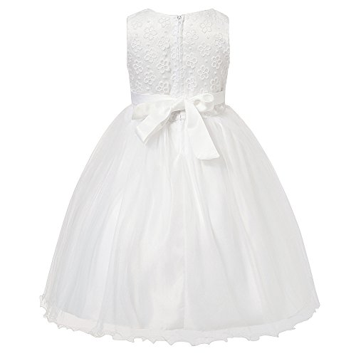 Richie House Girl's Princess Dress with Layered Mesh Bottoms and Bow RH1935-A-4/5-FBA (White)