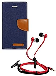 Aart Fancy Wallet Dairy Jeans Flip Case Cover for Apple4G (NavyBlue) + Zipper Earphones/Hands free With Mic *Stylish Design* for all Mobiles- computers & laptops By Aart Store.