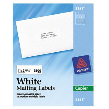 Avery 5351 Self-Adhesive Address Labels for Copiers  1 x 2-1