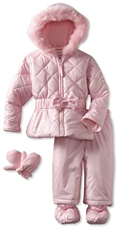 Rothschild Baby-Girls Infant Snowsuit With Bow, Pink, 18 Months