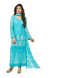Desi Girl Fashion Store Women's Chiffon Unstitched Dress Material (DGFS01_Blue_Freesize)