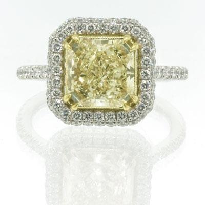 3.30ct Fancy Yellow Cushion Cut Diamond Engagement Anniversary Ring