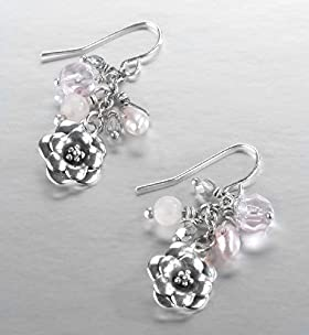 Sterling Silver Peonie Cluster Earrings - Marks & Spencer