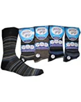 12 Pairs mens stripe GENTLE GRIP non elastic socks